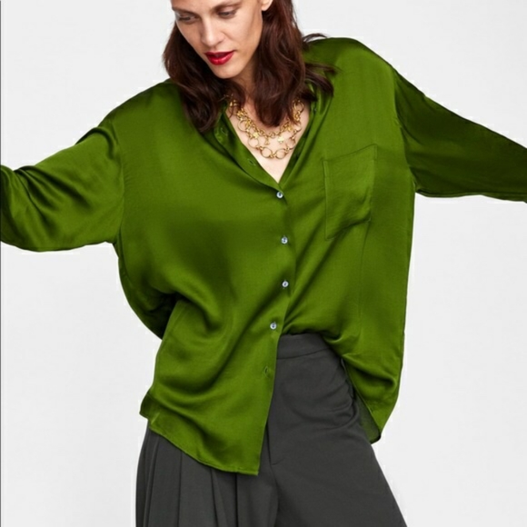Zara satin Kelly Green shirt